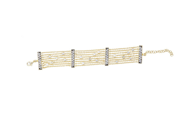 CZ's and Gold Chain Bracelet - Glamour Manor