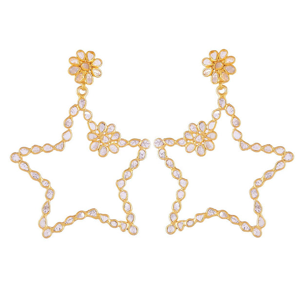 Sliced Diamond Star Earrings - Glamour Manor