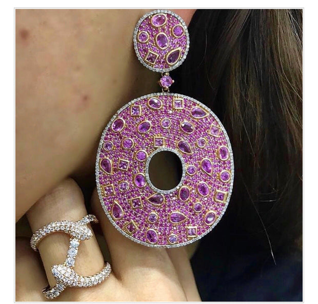 Pink Sapphire Diamond Earrings - Glamour Manor