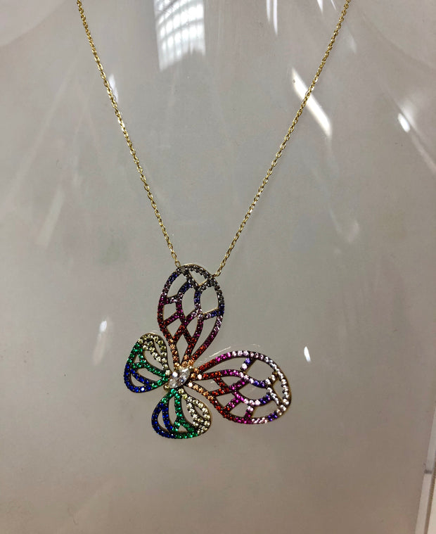 Multicolored Butterfly Necklace - Glamour Manor