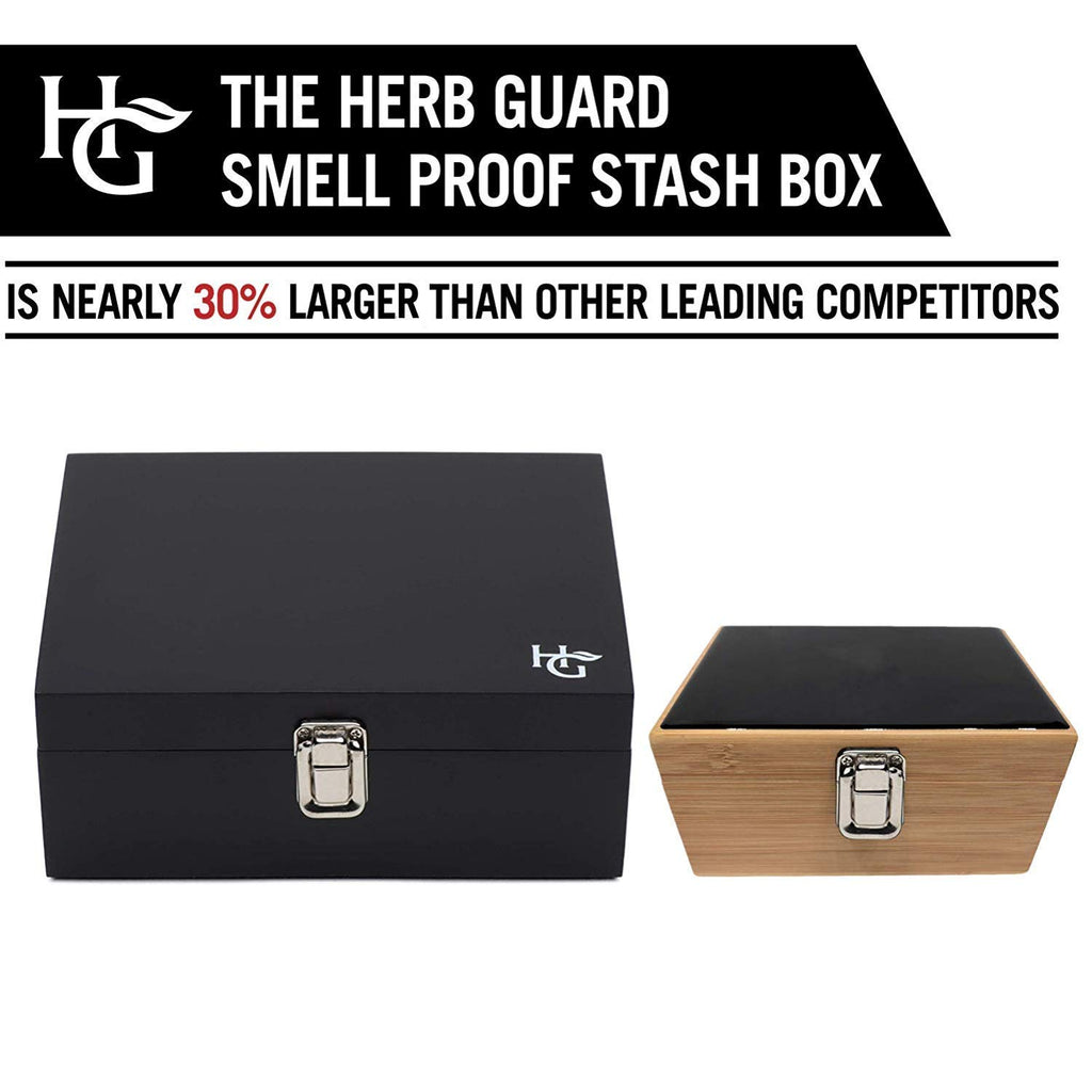 Herb Guard Large Smell Proof Stash Box Combo with Built in Smell Absorbing Lining - Comes with Smell Proof Jar and Humidity Pack, Grinder Card and 5 Smell Proof Travel Bags