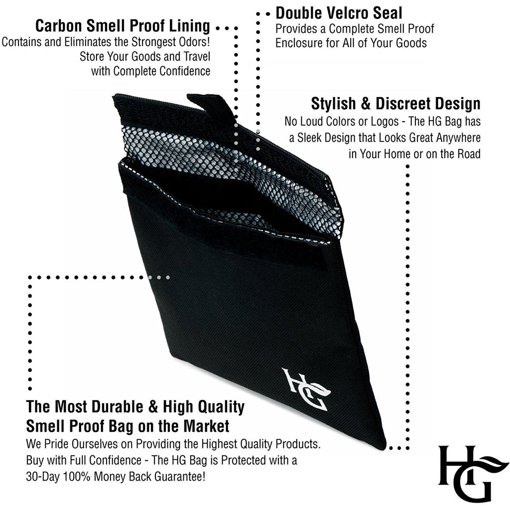 Herb Guard Premium Smell Proof Bag (7x6 inches, Holds Half Ounce) Comes with 2 Resealable Travel Bags