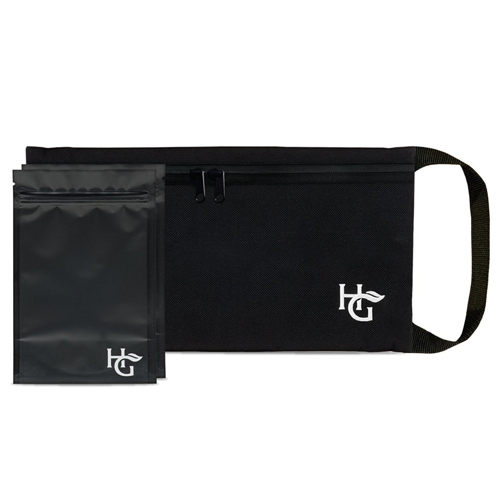Premium Smell Proof Bag (11x6 inches, Holds 2 Ounces) - Comes with 2 Resealable Travel Bags