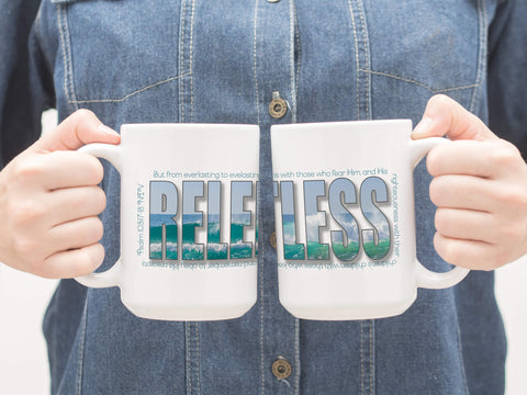 Coffee mugs with Relentless design