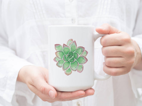 Green succulent mug with Psalm 46-10