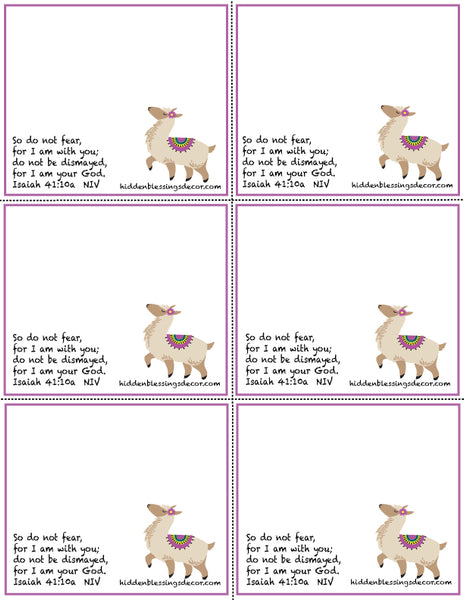 Free Blessing Cards Download - Alpaca with Isaiah 41:10a Bible Verse