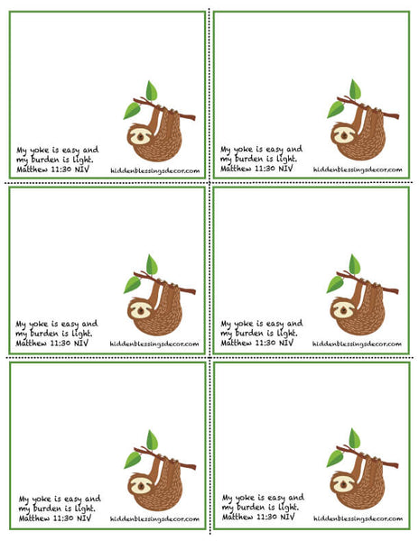 Sloth Blessing Cards Download by Hidden Blessings Decor and Gifts