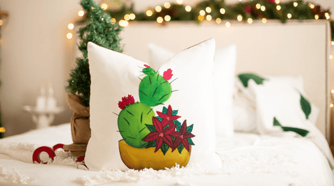 Prickly Pear Cactus with Poinsettias Christmas Pillow Cover
