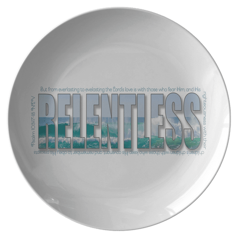 Hidden Blessings Decor set of plates with Relentless design