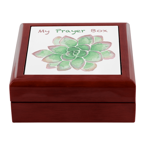 Prayer box with green succulent design