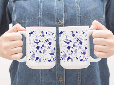 SET OF 15oz Mugs with Blue Terrazzo Design