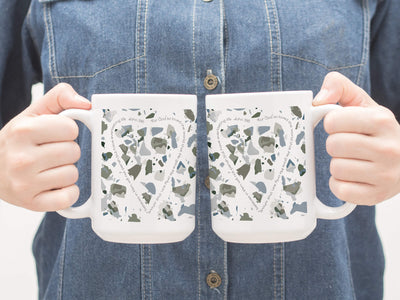 SET OF 15oz Mugs with Olive Green Terrazzo Design