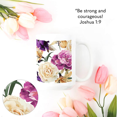 SET OF 15oz Mugs with Floral Design