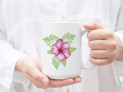 SET OF 15oz Mugs with Tropical Flower
