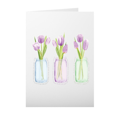 Greeting Card with Purple Tulip Design