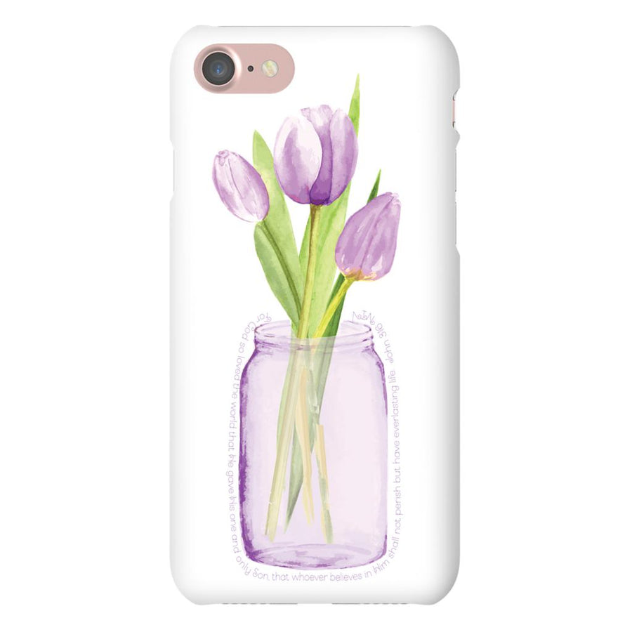 Apple iPhone Case with Purple Tulip Design