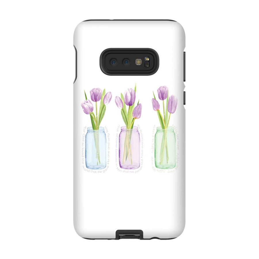 Android Phone Case with Purple Tulips and Hidden Bible Verse