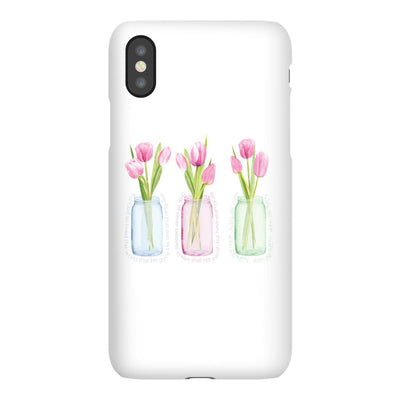 Apple iPhone Case with Pink Tulips and Hidden Bible Verse