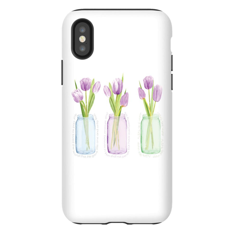 Apple iPhone Case with Purple Tulips and Hidden Bible Verse