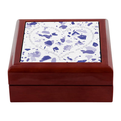 Prayer Box with Blue Terrazzo Design