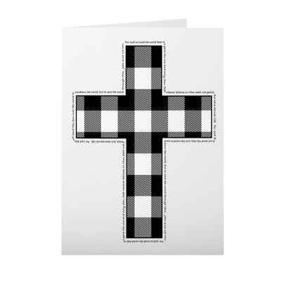 Greeting Card with Black and White Buffalo Check Cross