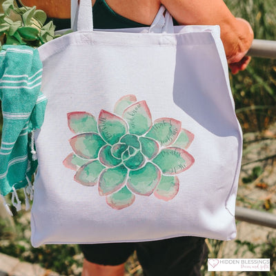Tote Bag with Green Succulent