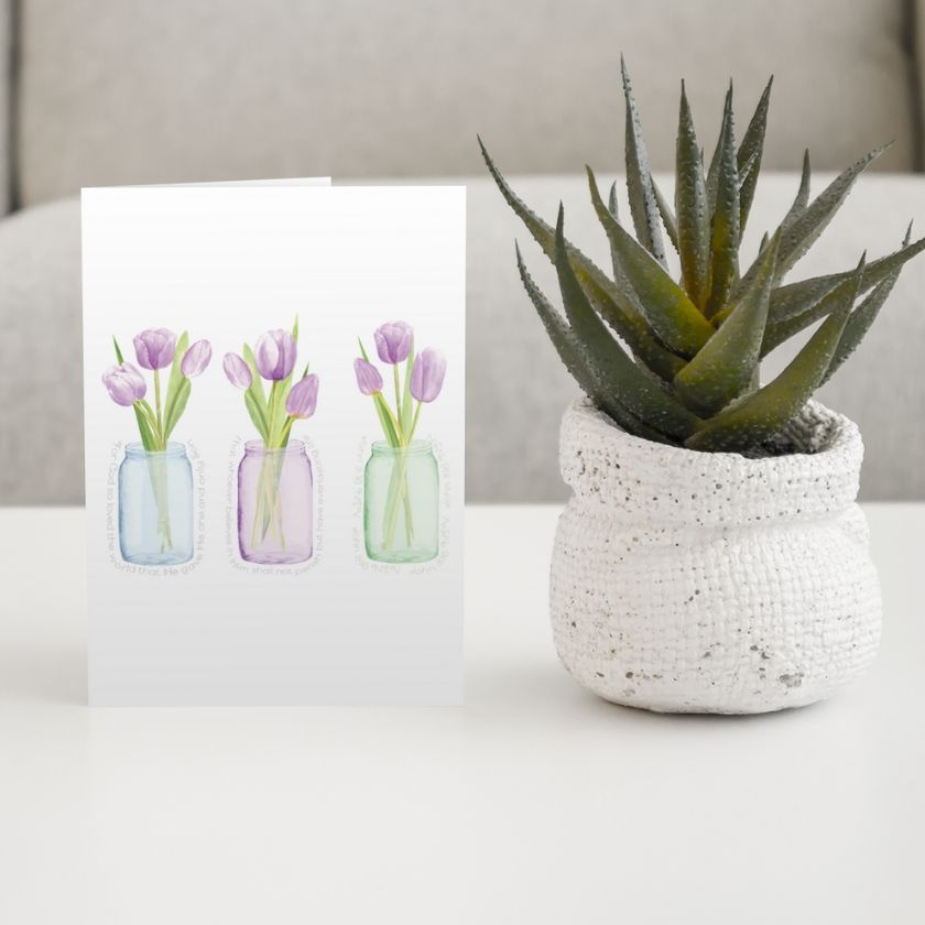 Pack of 5 Greeting Cards with Purple Tulips
