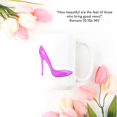 Mug with Pink Shoe Design