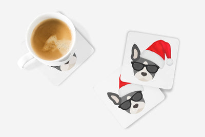 SET OF 4 Coasters with Boston Terrier