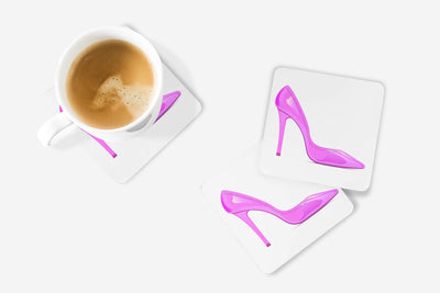 SET OF 4 Coasters with Pink Shoe