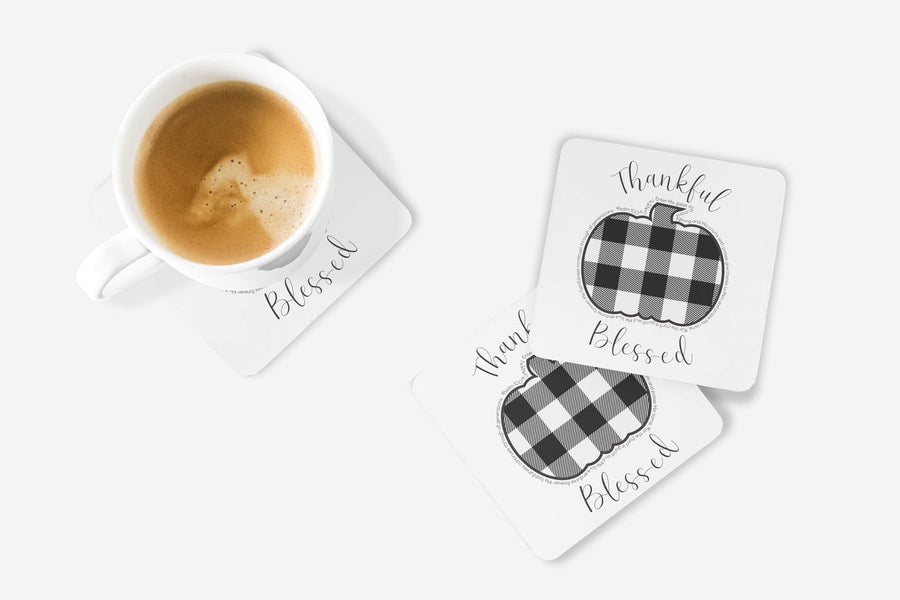SET OF 4 Coasters with Pumpkin Buffalo Check Design