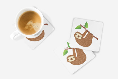 SET OF 4 Coasters with Sloth Design