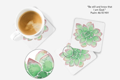 SET OF 4 Coasters with Green Succulent
