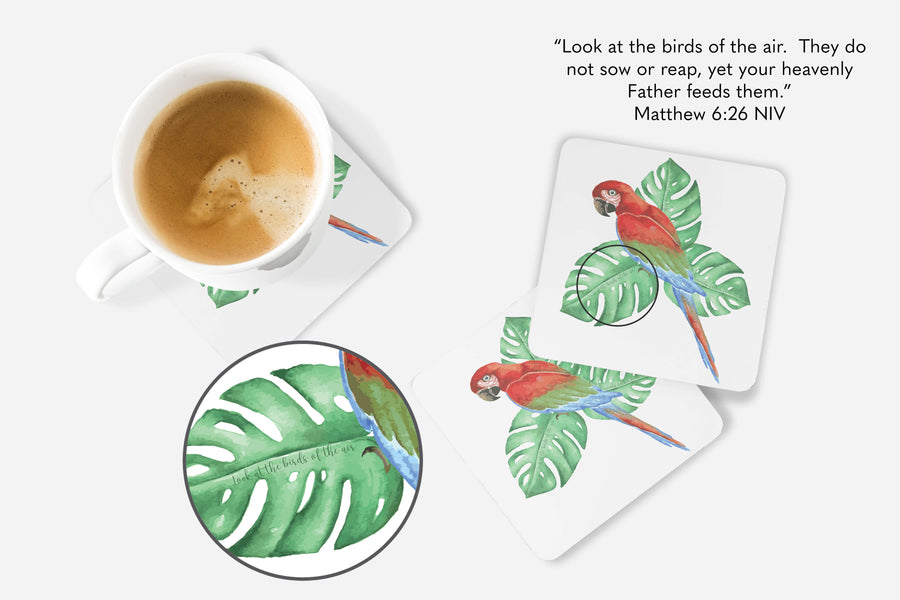 SET OF 4 Coasters with Tropical Bird