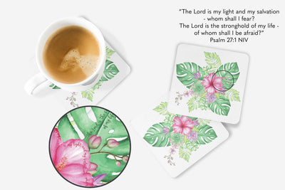 SET OF 4 Coasters with Tropical Bouquet Design