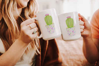 Mug with Barrel Cactus Design