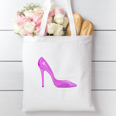 Tote Bag with Pink Shoe Design