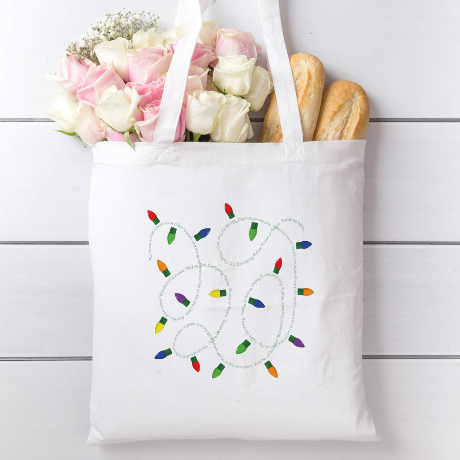Tote Bag with Christmas Lights
