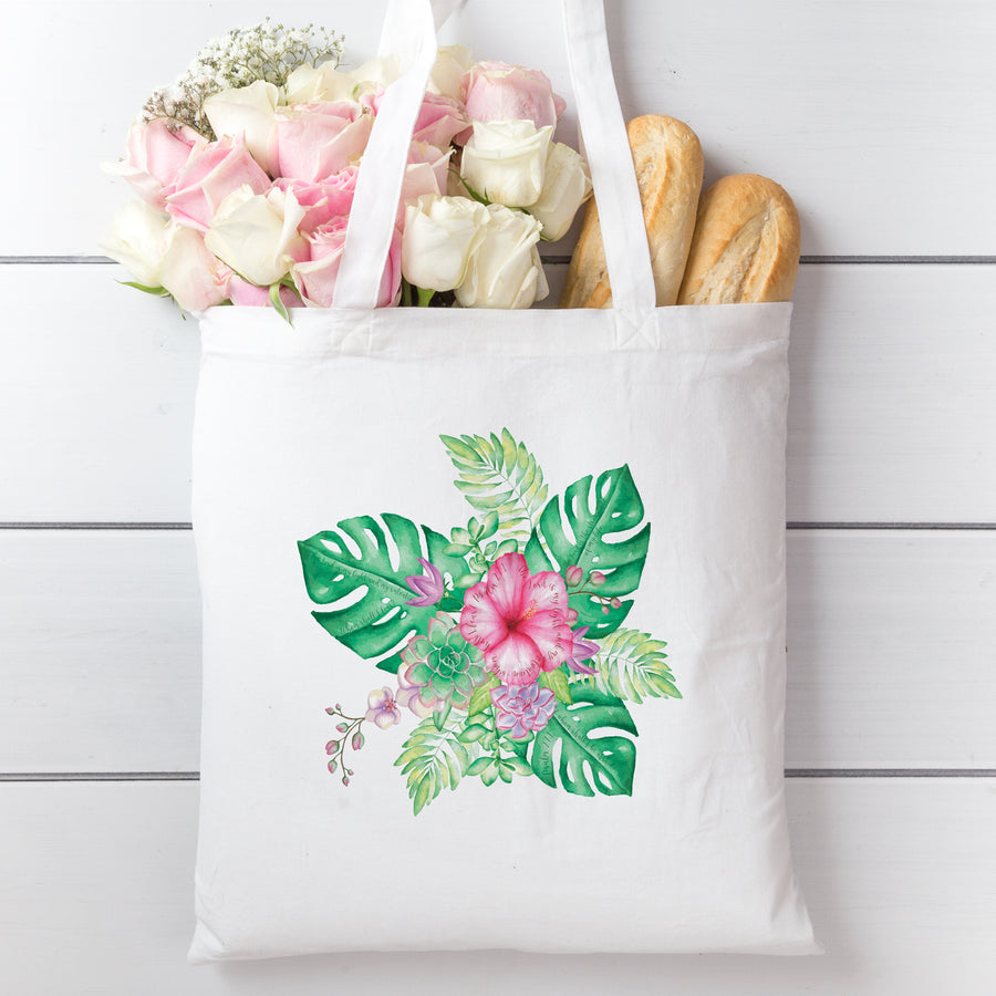 Tote Bag with Tropical Bouquet Design