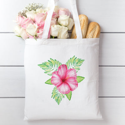 Tote Bag with Tropical Flower