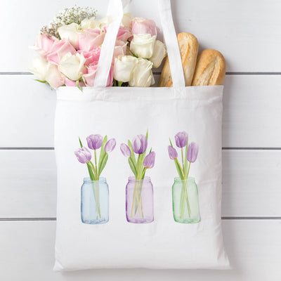 Tote Bag with Purple Tulips
