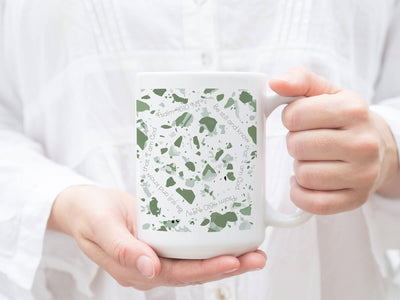 15oz Mug with Sage Green Terrazzo Design