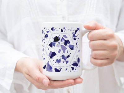 SET OF 15oz Mugs with Violet Terrazzo Design