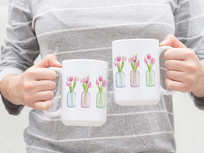 SET OF 15oz Mugs with Pink Tulips