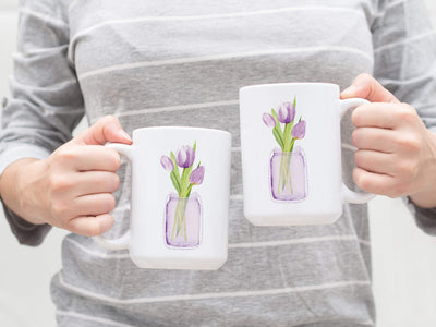 15oz Mug with Purple Tulips 1 vase