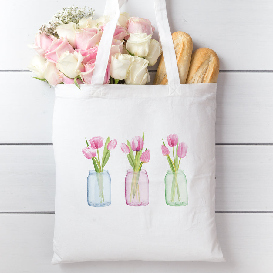 Tote Bag with Pink Tulips