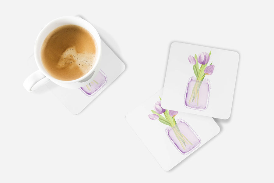 SET OF 4 Coasters with Purple Tulips