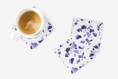 SET OF 4 Coasters with Violet Terrazzo Design