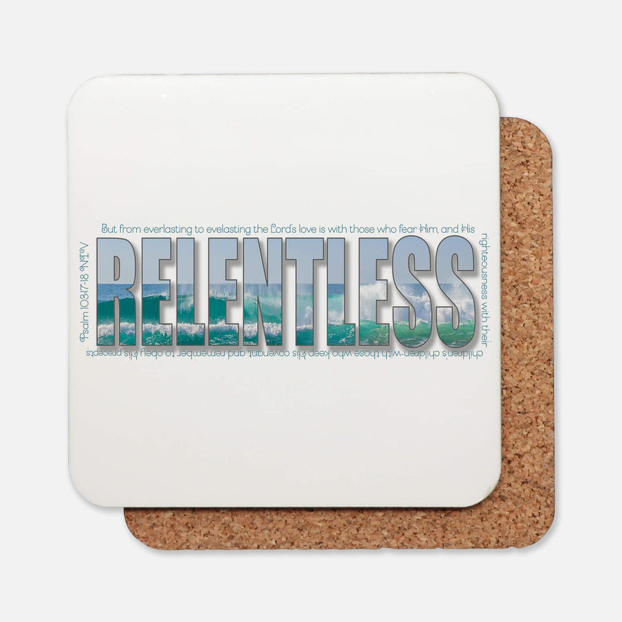 SET OF 4 Coasters with RELENTLESS Design