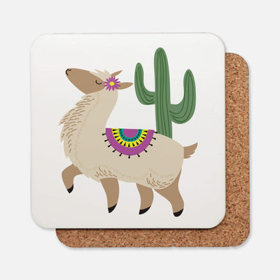 SET OF 4 Coasters with Alpaca Design